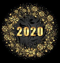 2020 text golden shimmer design with light vector