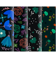 4 dark seamless background set trendy colorful vector image