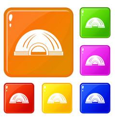 Aboriginal dwelling icons set color vector