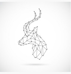 abstract geometric antelope head in polygonal vector image