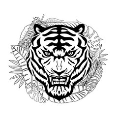angry tiger and tropical leaves vector image