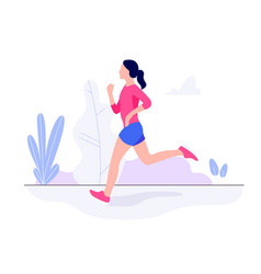 athletic young woman working out running jogging vector image