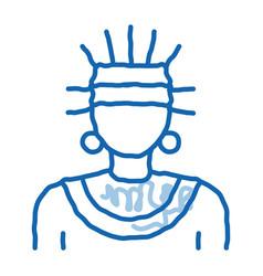 Aztec shaman doodle icon hand drawn vector