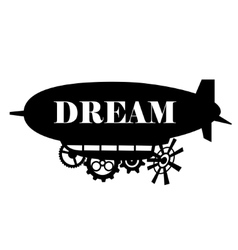 Background stylized fantastic airship with vector
