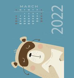 Bear calendar march 2022 a cute sleeps vector