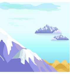 Beautiful landscape with icebergs in sea vector