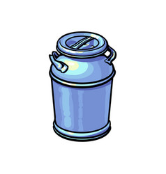 Big closed industrial aluminum milk can vector