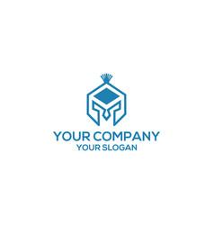 Blue spartan helmet logo design vector