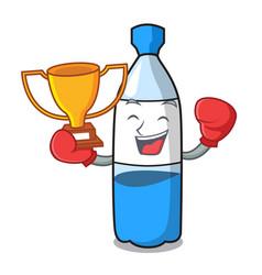 boxing winner water bottle mascot cartoon vector image