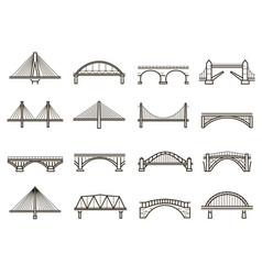 bridges line icon set city architecture vector image