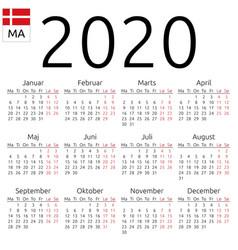 Calendar 2020 danish monday vector