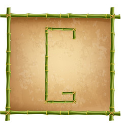 capital letter g made of green bamboo sticks on vector image