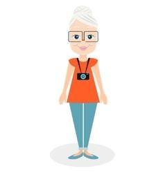 Cartoon character elderly woman a girl aged vector image