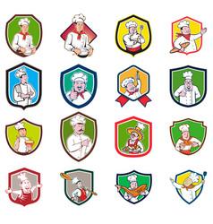 Chef baker cook crest cartoon set vector