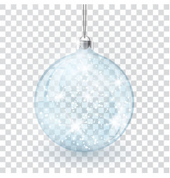christmas crystal glass ball on transparent vector image
