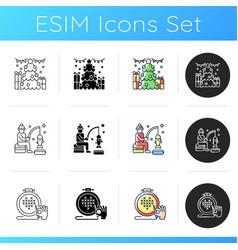 christmas time icons set vector image
