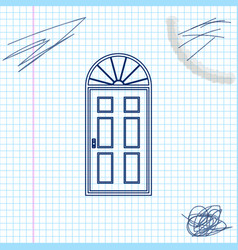 closed door line sketch icon isolated on white vector image