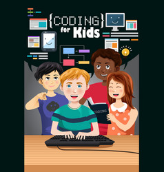 coding for kids poster vector image
