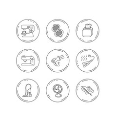 coffee maker sewing machine and toaster icons vector image