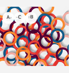 Color rings with shadows on gray abstract vector