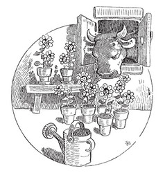 Cow eating flowers vintage vector