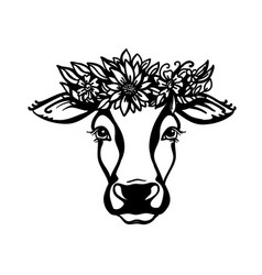 Cow head with flower wreath black graphic vector