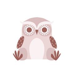 Cute cartoon gray owlet bird character sitting on vector