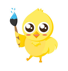 cute chick with brush vector image