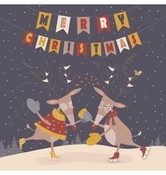 Cute reindeers dancing vector image