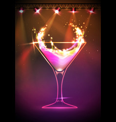 Disco neon cocktail background vector