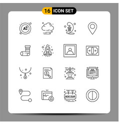 Editable line pack 16 simple outlines of vector