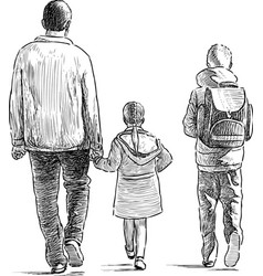Father with his kids vector