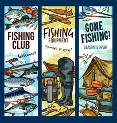 Fisherman sport club fishing sketch banners vector