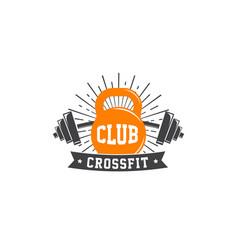 fitness crossfit gym emblems label badge logo vector image