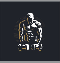 Fitness man with dumbbells vector