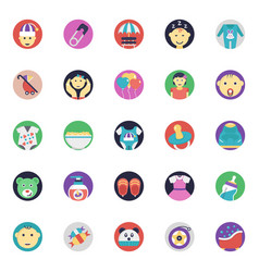 Flat icons pack of baby and kids vector