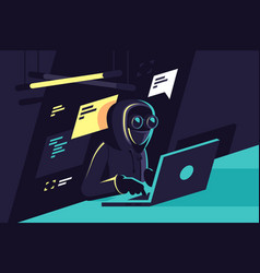 Flat young hacker programmer with laptop hacks vector