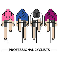 four flat bicyclists vector image