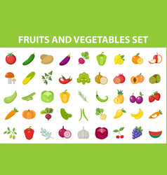 Fresh fruit and vegetable icon set flat cartoon vector