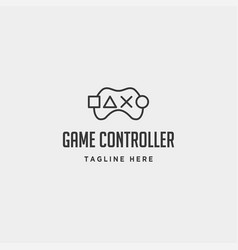 game controller simple logo line template icon vector image
