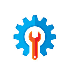 Gear and wrench logo template concept vector