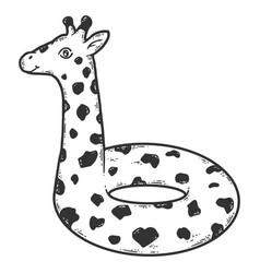 Giraffe shape swim ring sketch scratch board vector
