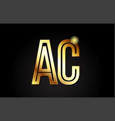 Gold alphabet letter ac a c logo combination icon vector