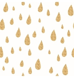 Golden rain drops seamless pattern Glitter vector