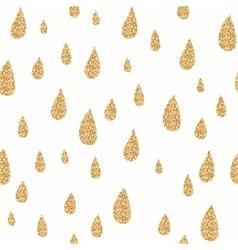 Golden rain drops seamless pattern Glitter vector image