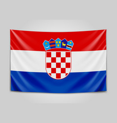 Hanging flag of croatia republic of croatia vector