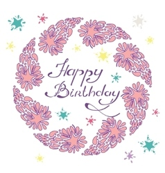 Happy birthday lettering in a hand drawn frame vector