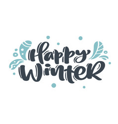 happy winter christmas vintage calligraphy vector image