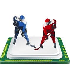 Hockey player and computer chip vector