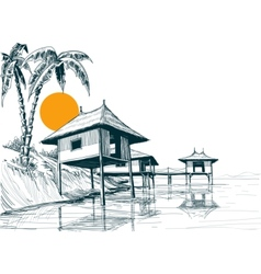 House built on water or water bungalows sketch vector